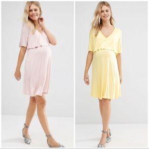 BLUEBELLE MATERNITY Nursing Friendly Blush Dress
